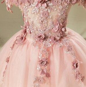 Image 2 - 키즈 Tulle 공주 드레스 여자에 대 한 첫 번째 축제 화려한 레이스 공 가운 아기 소녀 드레스 웨딩 파티 의상 1 12