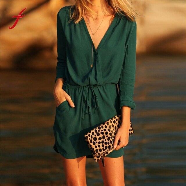 billig für Rabatt 52a9e ee8e7 US $8.86 10% OFF|2019 sommer Kleid V ausschnitt Grün Langarm Chiffon Kleid  Beiläufige Lose Elastische gürtel Kleid in 2019 sommer Kleid V-ausschnitt  ...