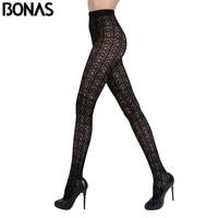 BONAS Autumn Hollow Tights For Women Black Lace Hosiery Spandex Lolita Fashion Slim Candy Color Long