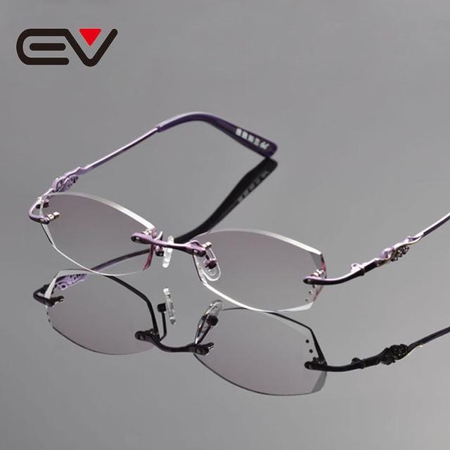 2016 Elegant Women Titanium Rimless Eyeglasses Frames Purple Diomand ...