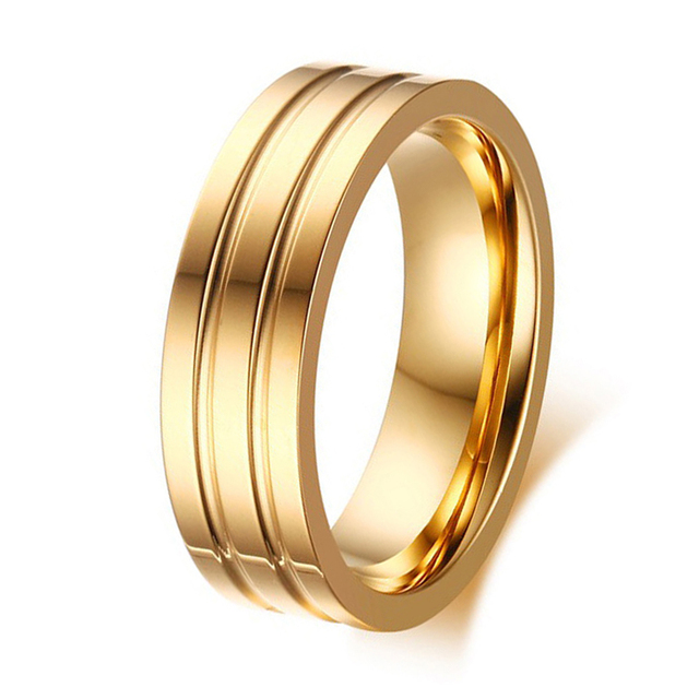 New Arrival Classic Simple Plain Gold Color Men and Womens Wedding Band  Promise Rings Titanium Steel Ring 2602dbdb5