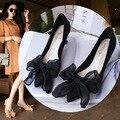 2017 Verano Mujer Sandalias de Tacón Alto Zapatos de Alta Calidad Del Partido Negro Slip on, Moda 7.5 cm Tacones Altos Butterfly-nudo Zapatos de Mujer