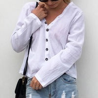 Women Long Sleeve Button-Down Blouse Fashional Slim Shirt V Neck Casual Solid Tops Blouses
