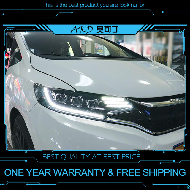 Akd Tuning Cars Headlight For Honda Fit Jazz Gk5 2018 Headlights Led Drl Running Lights Bi Xenon Beam Fog Angel Eyes Auto