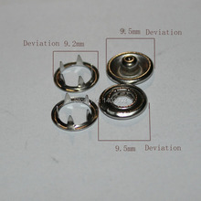Snap button Sets Silver Tone No Sew Open Ring Snap Press Fastener Buttons 9 5mm 100set