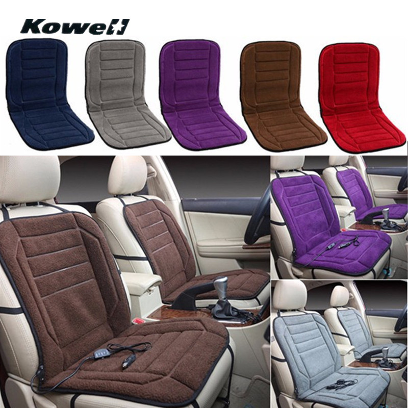KOWELL Universal 12V Velvet Winter Car Seat Heated Cushion Cover Case Temperature Adjustable Heater Auto Driver Warmer Support