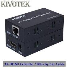 4K x 2K HDMI Extender Verici + Receiver100m 1080P CAT5E6 Kablo Ağı UTP Konnektör Adaptörü, HDTV PC için Video Ücretsiz Kargo