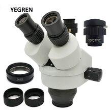 3.5X 45X Simul focal Trinocular 줌 스테레오 현미경 헤드 WD 165mm WF10X 접안 렌즈 0.5X Barlow 렌즈 0.5X C 마운트