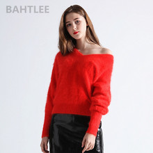 BAHTLEE Autumn Winter Womens Angora Rabbit Knitted Pullovers Sweater V Neck Jumper Batwing Sleeve Fashion Keep Warm Loosefir