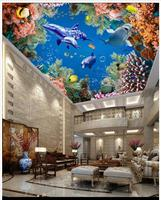 Custom 3d wallpaper 3d ceiling murals wallpaper The undersea world 3 d three-dimensional frescoes on the ceiling wallpaper dceor