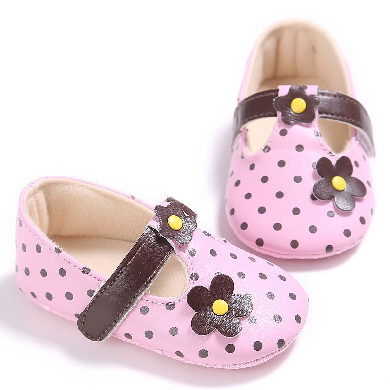 Cute Baby Girls Flowers Dot PU Shoes Infant Toddler First Walkers Prewalker Anti-Slip Soft Baby Shoes 0-18M