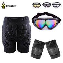 Outdoor Skiing Skate Snowboard Skating Hip Protective Shorts+ Knee Pads+X400 UV Protection Goggle Glasses Eyewear