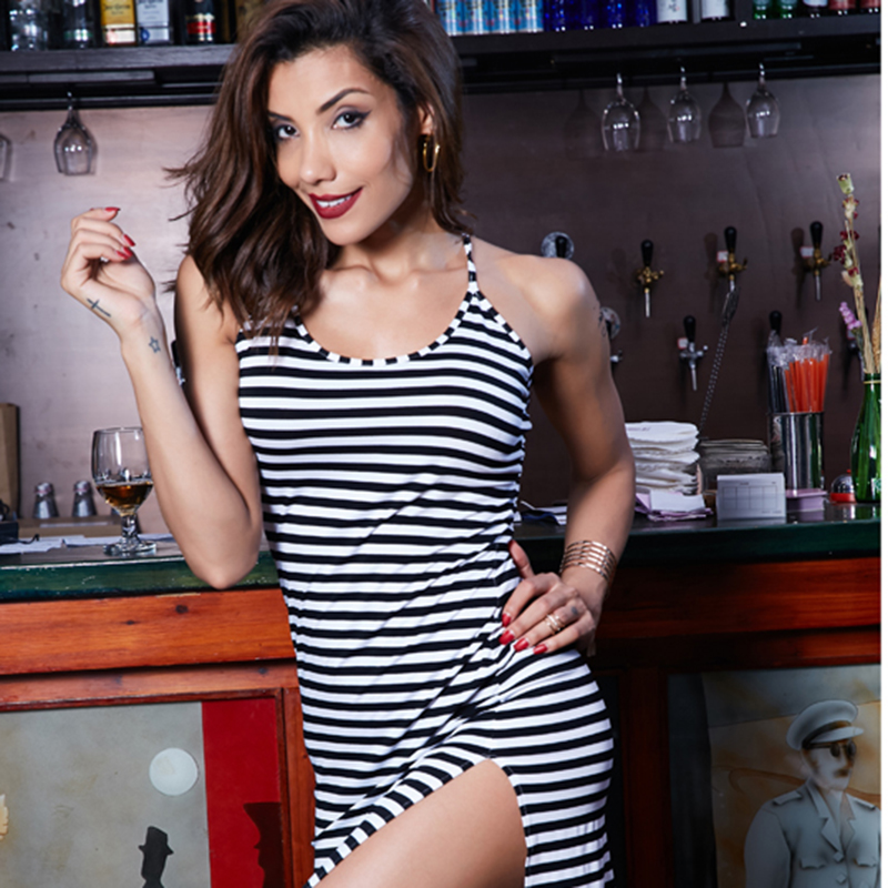 2e99a775b8c63 Beauty Garden Sexy Women Dress O neck Backless Striped Strap Knee ...