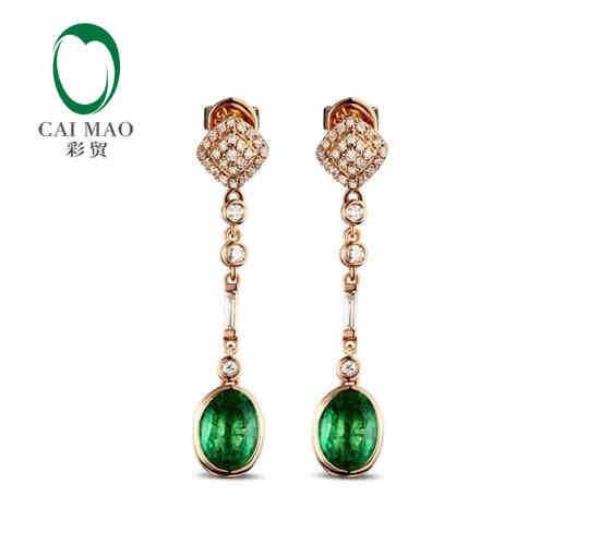 CaiMao 2,03 ct натуральный изумруд 18KT/750 розовое золото 0,43 ct полный огранки серьги с бриллиантами ювелирные изделия драгоценный камень