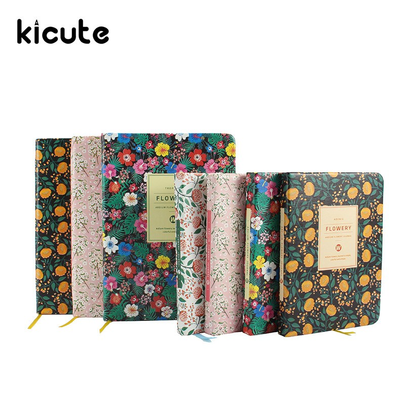 Kicute Floral Flower PU Leather Cover Schedule Book Diary Weekly Monthly Planner Organizer Notebook Office School Stationery a4 leather discolor manager file folder restaurant menu cover custom portfolio folders office portable pu document report cover