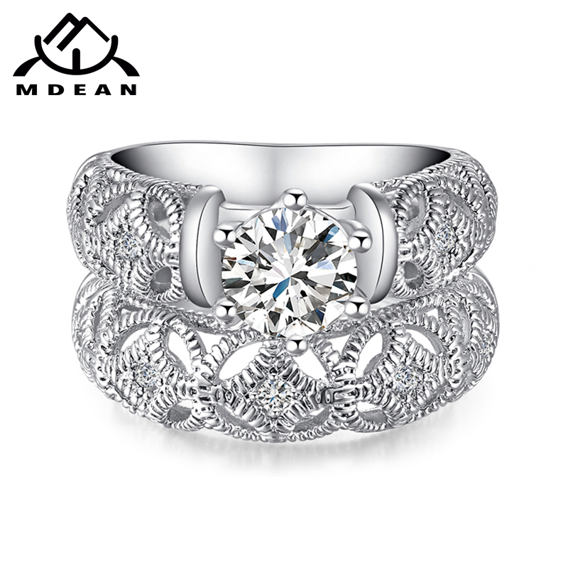 aliexpress buy luxury white gold plated aaa swiss aliexpress buy mdean white gold color ring sets for