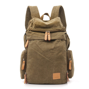 Image 1 - Large Capacity Men Vintage Travel Climb Laptop Backpack Wash Canvas Backpack Male Retro Casual Rucksack Teenagers School Bags