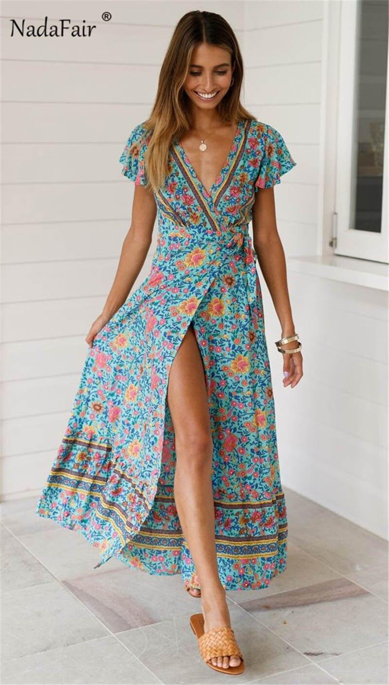 Nadafair Vintage Floral Maxi Dresses Elegant Beach Sash Sexy V Neck Split Print Tunic Long Summer Boho Dress Women Vestidos 5