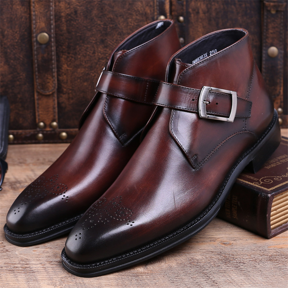 Fashion Goodyear Welt shoes Brown tan / black mens ankle boots genuine leather dress boots mens dress shoes with buckle