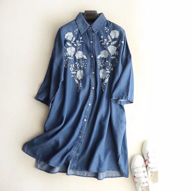 Boyfriend Robes Manches Chemises Ciel Blouses Blusas Broderie À Bleu Fleur Coton Denim Femmes pu Mujer Longues E8qw0z