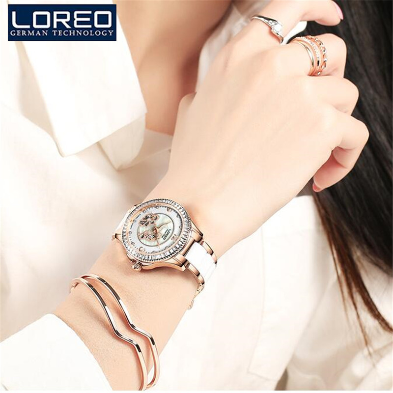LOREO Women's Watches White Simulated Ceramic Bracelet Hours Ladies Casual Clock relogios femininos Mechanical Wristwatches K47 time100 fashion women s watches simulated ceramic diamond ladies quartz watch dress casual bracelet watches relogios femininos