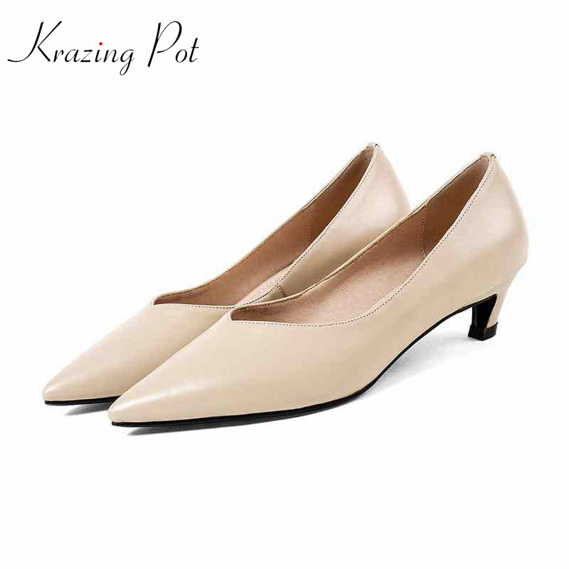Krazing pot 2018 Shoes women genuine leather pointed toe preppy style stiletto med heel solid color simple style nude pumps L27 new genuine leather superstar solid thick heel zipper gladiator women pumps pointed toe office lady nude runway casual shoes l88