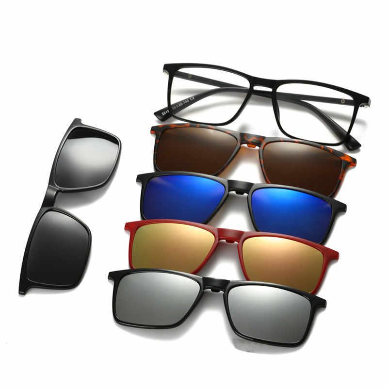 6f8d26172e7bc 5 +1 Set Glasses Women Men Mirror Polarized Sunglasses Clip-on Make  Prescription Myopia