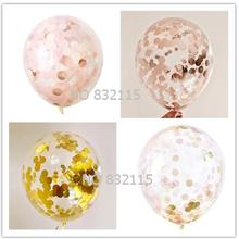 Confetti Balloon - Pink and Gold - Blush and Rose -12 inch - Tissue Paper Decor