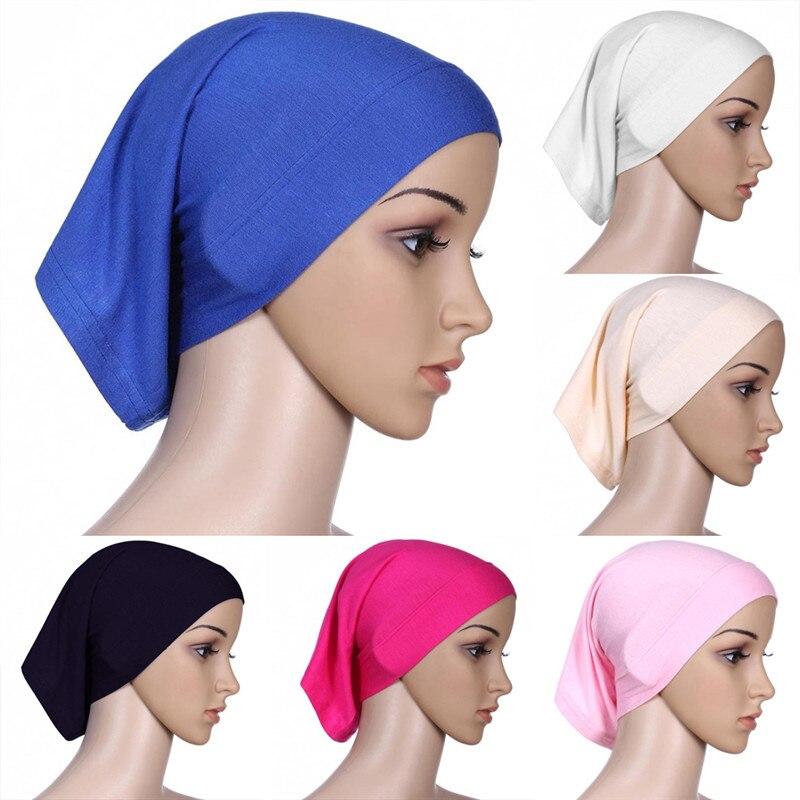 9 Colors 1pcs Elastic Adjustable Muslim Islamic Arabian Hijab Tube Veil Robe Abaya Inner Caps Hats Modal Stretch 30x24cm