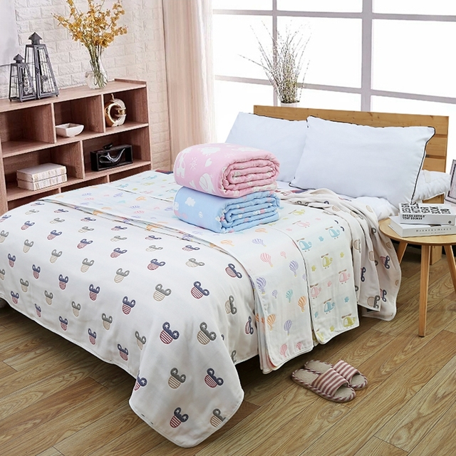 6 Layers Baby Bedding Sheet 100% Cotton Muslin Gauze Kids Bed Sheet Kids  Cover Blanket