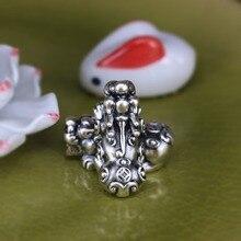 3D 999 серебро Fengshui Pixiu бусины чистое серебро счастливый зверь ювелирные бусы богатство пиксиу бусины для богатства