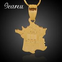 Wholesale Romantic France Map Gold Color Pendant Necklace Jewelry Women Men Fashion Necklace Jewelry