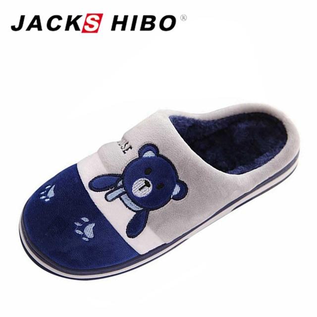 JACKSHIBO Zapatillas de casa de los hombres patrón de oso zapatillas ...