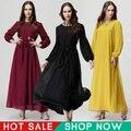 Moda 2015 Vestuário Islâmico Primavera Casuais Elegantes Senhoras Slim Plus Size Mulheres Dubai Abaya Muçulmano Vestido Longo Maxi Chiffon