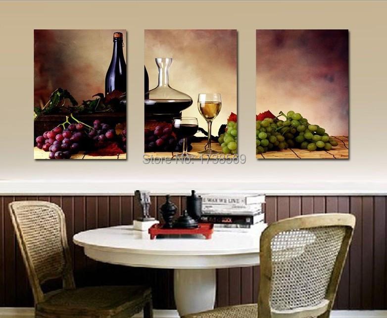 Wall Art Picture 3 Panel Modern Home Decoration Wine Fruit Kitchen Canvas Print Oil Painting Printed