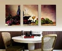 Retrato da arte da parede 3 painel Modern Home Decoração vinho de fruta cozinha da lona de Impressão pintura a óleo impressa na lona para sala de jantar quarto