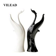 VILEAD 31.5cm Ceramic Black and White Swan Figurines Nordic