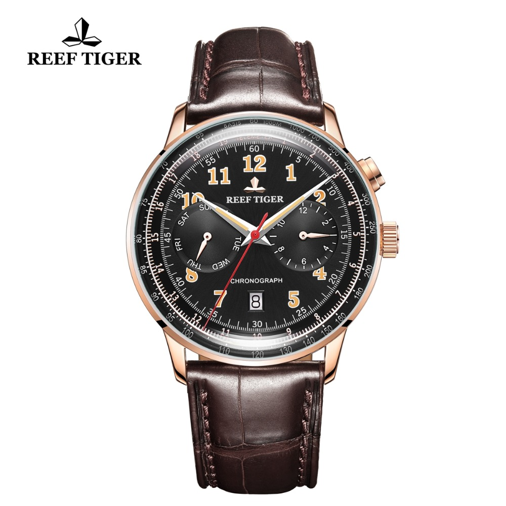 Reef Tiger/RT Ventige Top Luxury Watches for Men Date Waterproof Watches Leather Rose Gold Automatic Mechanical Watches RGA9122Reef Tiger/RT Ventige Top Luxury Watches for Men Date Waterproof Watches Leather Rose Gold Automatic Mechanical Watches RGA9122