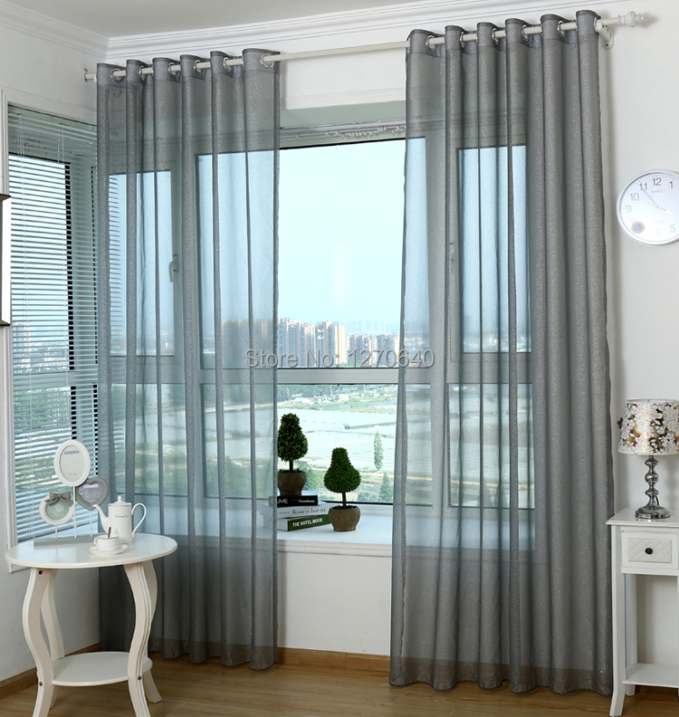 Europe And Simple Ready Gray Curtain Sheer Voile Organza