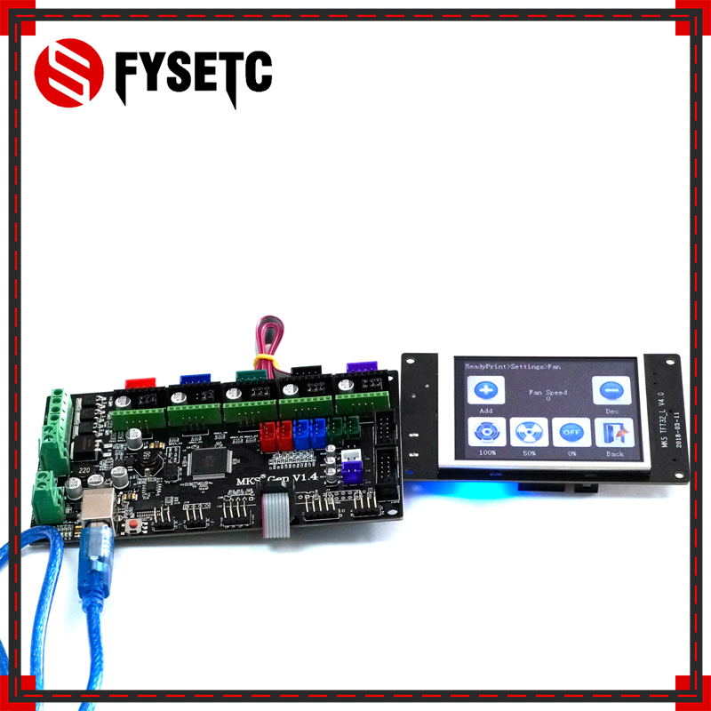 TFT32 LCD Screen + MKS Gen V1.4 4 Layers PCB controller Board Integrated Mainboard Compatible Ramps1.4/Mega2560 R3 3D printer 4 layers pcb controller board mks gen v1 4 integrated mainboard compatible ramps1 4 mega2560 r3 support a4988 drv8825 tmc2100