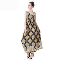 WHZHM Robe Femme Ete 2018 Dress Women Cotton Sleeveless Vestido De Festa Print Bohemian Empire Women