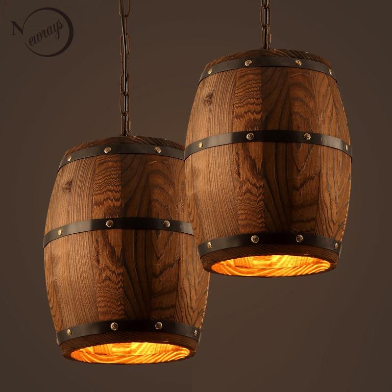 American country loft wood Wine barrel hanging Fixture ceiling pendant lamp E27 light for bar cafe living dining room restaurant metalowe skrzydła dekoracyjne na ścianę