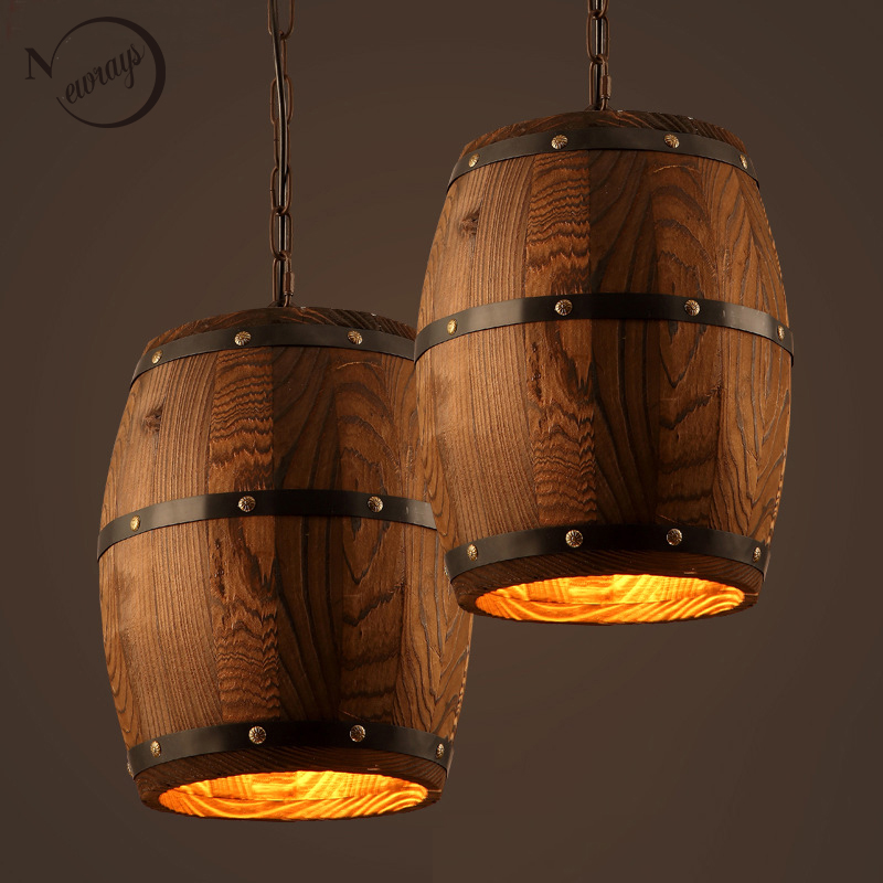 American Country Loft Wood Wine Barrel Hanging Fixture Ceiling Pendant Lamp E27 Light For Bar Cafe Living Dining Room Restaurant