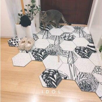 Ins Nordic PVC Wire loop waterproof Entry mat non-slip Door mat custom made DIY soft plastic carpet Hexagonal geometric rug