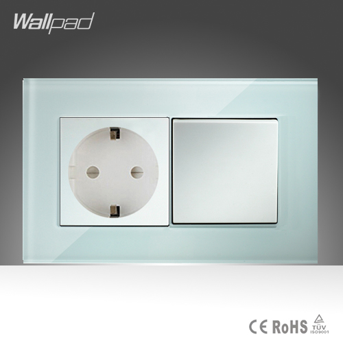16A EU Socket and 1 Gang 1 Way Wallpad 146*86mm White Crystal Glass Push Button Switch and European Socket Free Shipping 10a universal socket and 3 gang 1 way switch wallpad 146 86mm white crystal glass 3 push button switch and socket free shipping