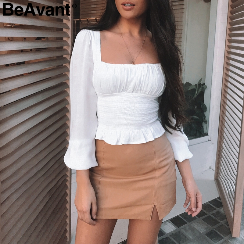 BeAvant Vintage square collar white   blouse   female Ruffle long sleeve women   blouse     shirt   2019 Summer ladies cropped peplum top