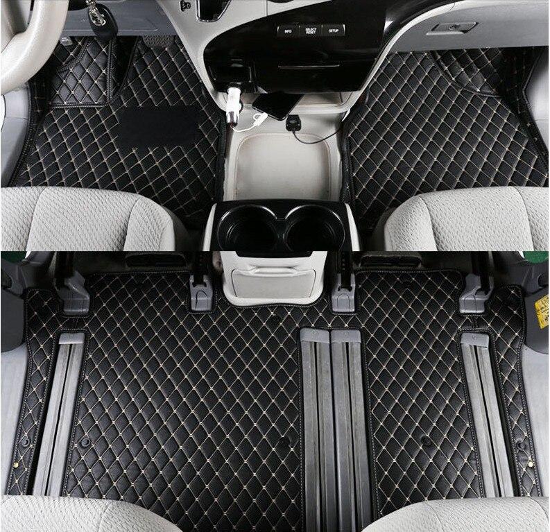Tapis de sol de voiture tapis de voiture tapis de voiture pour TOYOTA SIENNA 2011 12 13 14 15 16 2017 2018 tapis en cuir de broderie de haute qualité