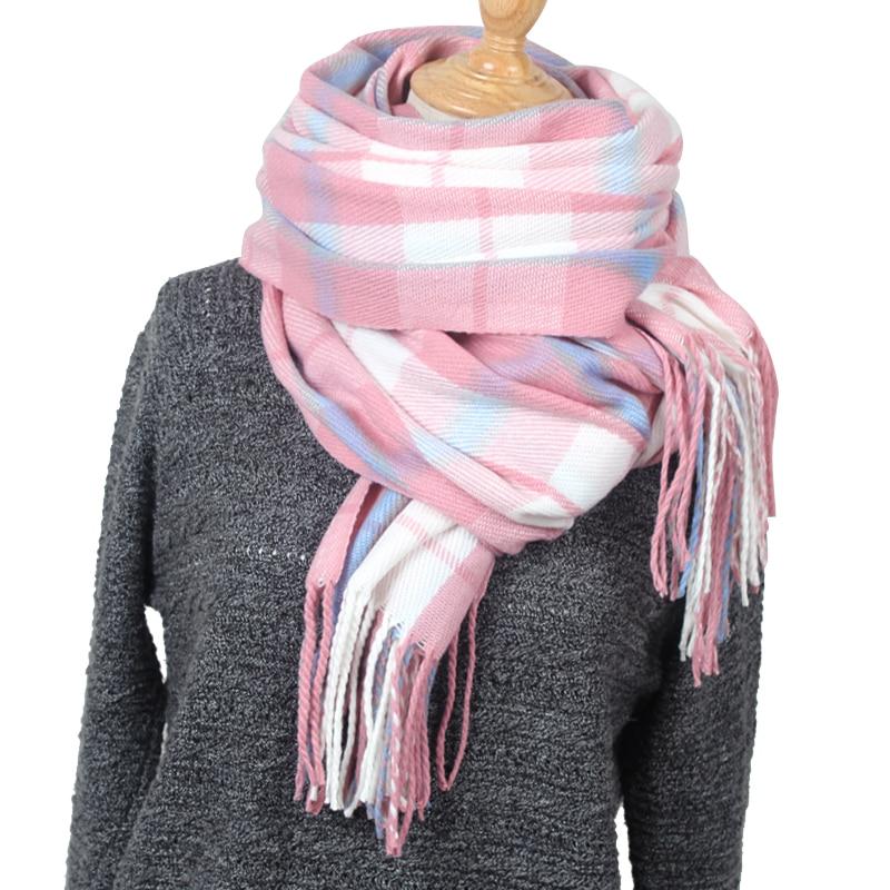 Cashmere   Scarf   2019 Pashmina   Scarf   Women Tassels   Scarves     Wraps   Autumn Winter Blanket Shawls plaid   scarves   YR004