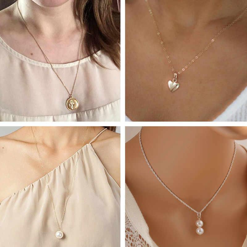 Seblasy シンプルなスタイルムーン葉ハート模擬真珠スタータッセルチェーンペンダントネックレス女性のための部分ギフトアクセサリー