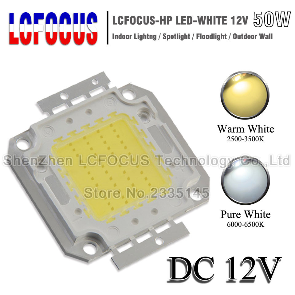 DC <font><b>12V</b></font> High Power <font><b>LED</b></font> COB Chip <font><b>1W</b></font> 3W 5W 10W 20W 30W 50W 100W SMD Diode Light Cold Warm White For 1 3 5 10 50 100 W Watt <font><b>LED</b></font> image